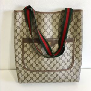 Authentic GUCCI tote, monogram coated canvas